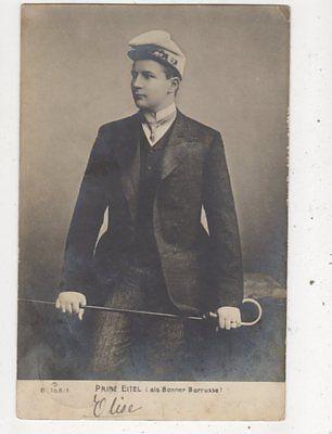 Prinz Eitel Bonner Borrusse 1906 RP Postcard Germany Royalty 038b