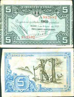 Spain 5 Ptas 1937 Banco De Bilbao  Vf Condition  Very Rare