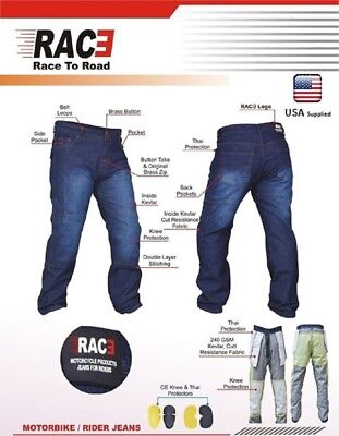 Blue Denim Motorcycle Pant (Men Motorcycle Motorbike Denim Jeans Trouser Protective Armored Lining sport  )