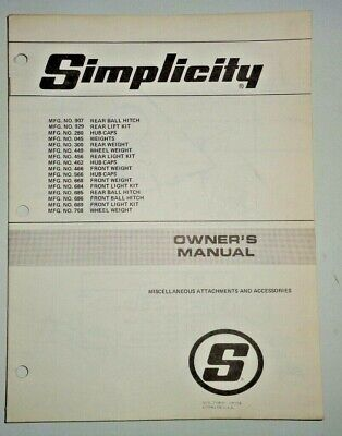Simplicity Light Kit Hitches Weights Owners Parts Manual For Tractors Op15a