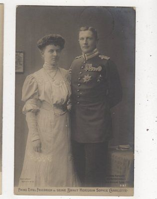 Prinz Eitel Friedrich & Braut Sophie Charlotte RP Postcard Germany Royalty 038b