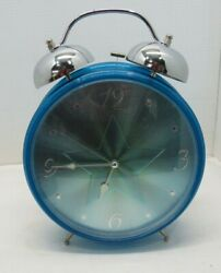 Large And Loud Bright Sparkling Blue Alarm Clock Battery Operated