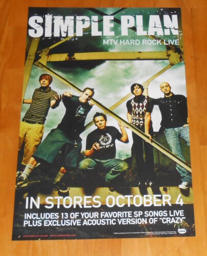 Simple Plan MTV Hard Rock Live Poster 2-Sided Promo 2005 Original 11x17