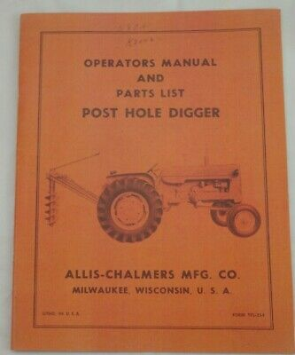Allis Chalmers Wd Wd45 Post Hole Digger Owner Parts Manual Snap Coupling Mount
