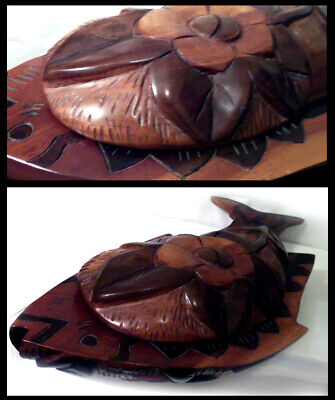 Unique, Stunning Carved Mahogany Wooden Fish Serving Platter with Matching Lid