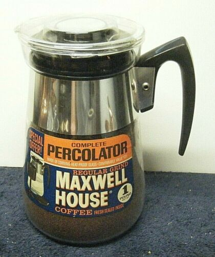 UNUSED Vintage Maxwell House 6 Cup Coffee Pot Maker Percolator, Corning Glass