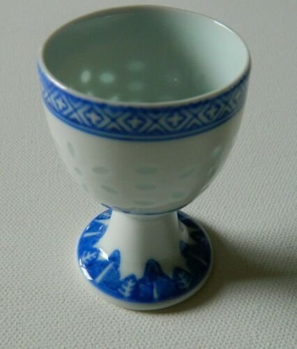 Vintage Asian Chinese Rice Eye  Blue ,White Egg Cups