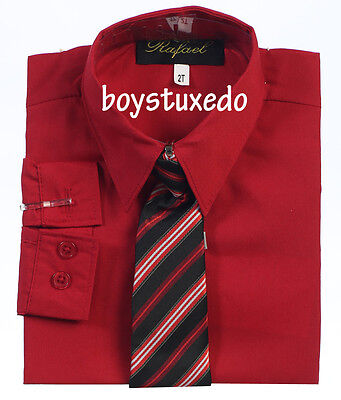 New Boy's Toddler Red Solid Long Sleeve Dress Shirt With Tie Sizes - Toddler Boy Red Dress Shirt