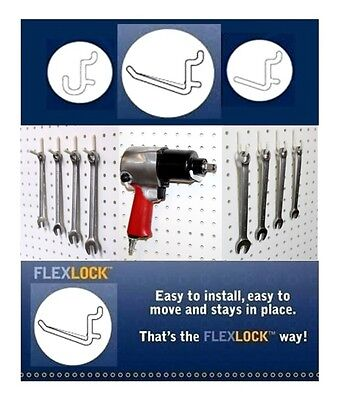 Locking Pegboard Hook - 75 Assorted Locking White Peg Board Hooks fit 1/4