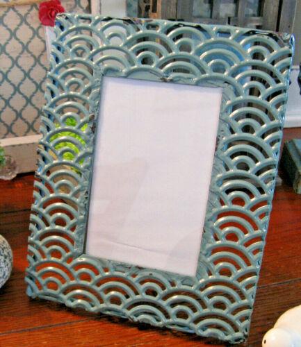 "New Aqua Blue Cottage Farmhouse Ornate Fan Style 5""X7"" Metal Photo Frame"