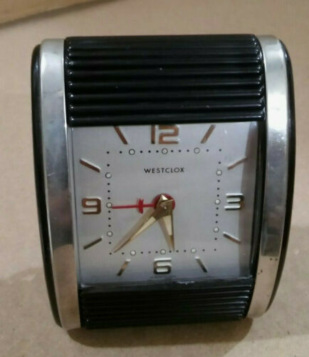Vintage 1960 Westclox Travalarm luminous black / nickel alarm clock - Serviced