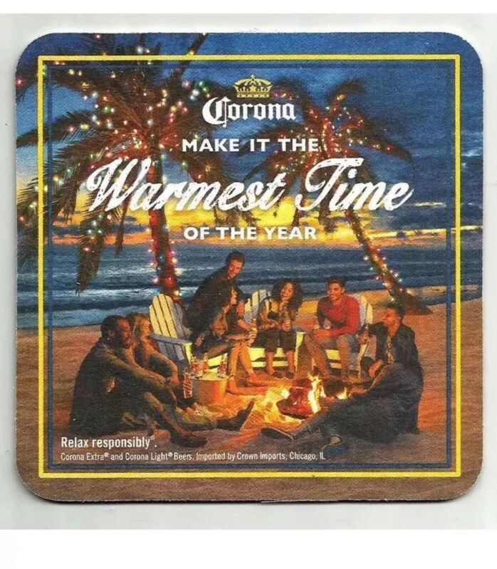 "Corona Feliz Navidad Warmest Time of the Year   Beer Coasters "" 20"" 🌴🌴"