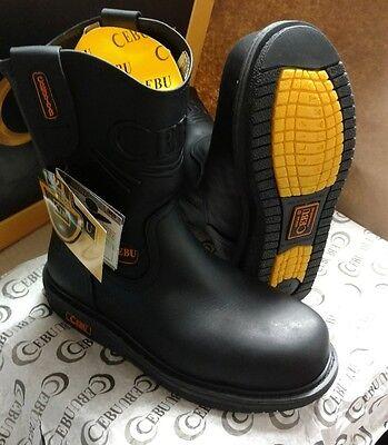 Black Comfort Steel Toe Boots (  Cebu Comfort Mens Leather Steel Toe Work Safety Boots Slip Oil Resistant Black )