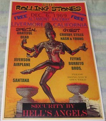 THE ROLLING STONES 1969 ALTAMONT RACEWAY REPLICA POSTER W/PROTECTIVE SLEEVE