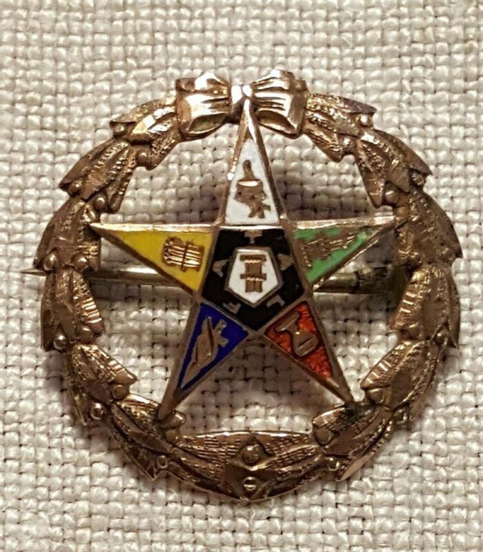 Antique 10K GOLD PIN Enamel Masonic Eastern Star 1.40g