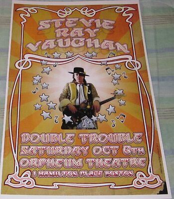 STEVIE RAY VAUGHAN/DOUBLE TROUBLE 1984 REPLICA CONCERT POSTER W/PROTECTIVE SLEEV