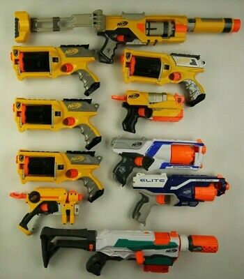 Lot of 10 Nerf N-Strike toy guns revolvers pistols rifles office birthday party