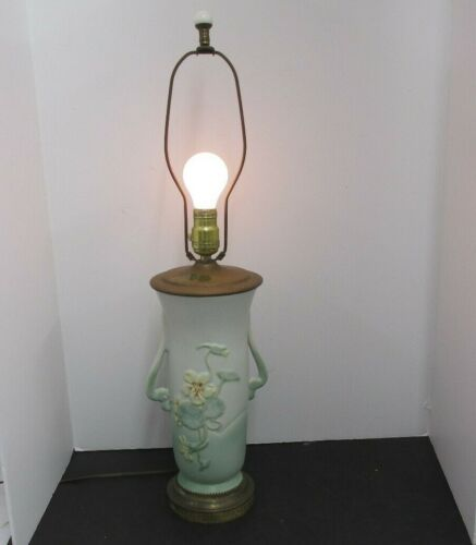 """WELLER POTTERY USA PANSY PANELLA  ? DESIGN 12"""" GREEN /YELLOW FLOWERS VASE LAMP"""