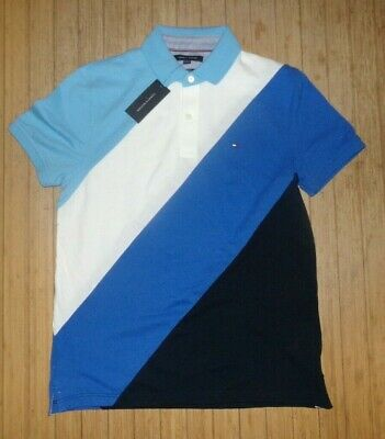NWT MENS Tommy Hilfiger S/S Polo Shirt~Slim~Blues~SZ MED