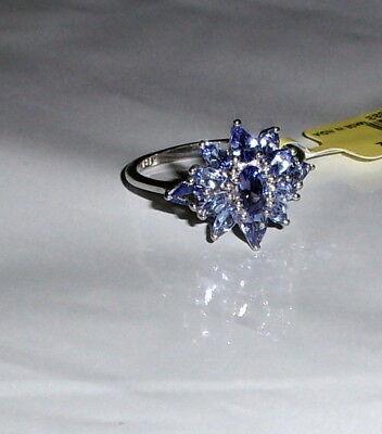 PURPLE TANZANITE OVAL & PEAR COCKTAIL RING, PLATINUM/ SILVER, SIZE 10, (Oval Tanzanite Platinum Ring)