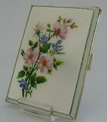 ANTIQUE ENGLISH SOLID STERLING SILVER ENAMELLED CIGARETTE CASE 1941 STUNNING