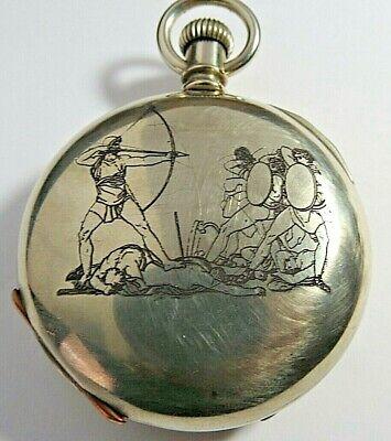 ANTIQUE 1904 ELGIN 18 POCKET WATCH 17'J ENGRAVED GREEK ANCIENT ULYSSES BOW ARROW