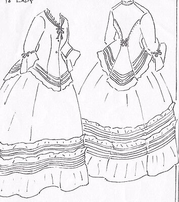 "18""ANTIQUE FRENCH FASHION LADY DOLL@1850's AFTERNOON DRESS UNDERWEAR PATTERN"