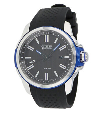 Citizen Eco-Drive Men's AR Blue Accents Black Poly Band 44mm Watch AW1151-04E