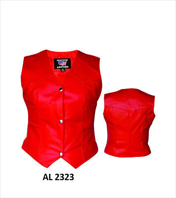 Leather 3 Snap - Ladies Red Leather Vest Classic 3-Snap Biker Motorcycle Style Womens