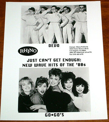 Rare Devo & The Go Go's 8x10 B&W Press Photo New Wave Hits of the '80s Rhino