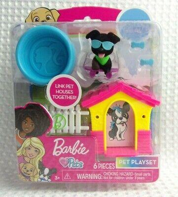 Barbie Loves Pets 6 pc Pet Playset - Black Lab Puppy Pool Dog House Sunglasses +