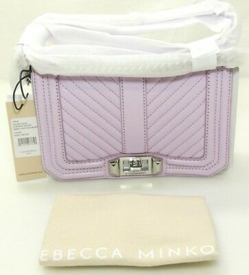 Rebecca Minkoff Chevron Quilted Small Love Crossbody Handbag (Light Orchid) NEW