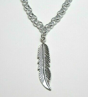 Feather Charm Southwest Themed Pewter Pendant Rhodium Chain Necklace 18