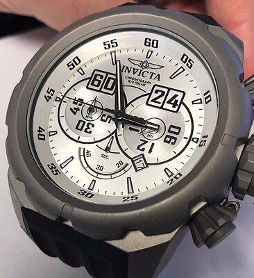 New Big Invicta 21633 Titanium Russian Diver Chronograph White Dial Watch