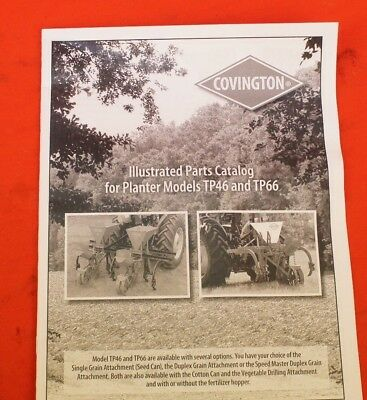 Covington 1 Or 2 Row Vegetable Planter Fertilizer Owners Manual Parts List