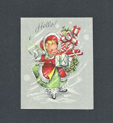 '50s Girl, Fur Trimmed Coat, GIFTS, Snowflakes Vtg HALLMARK Christmas Card (50s Gifts)