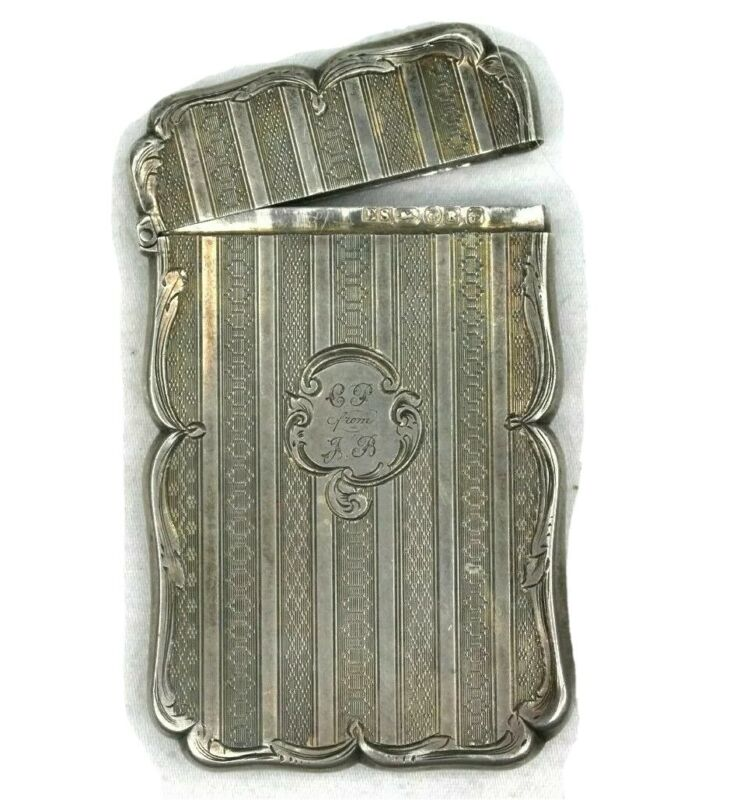 Edward Smith Birmingham Victorian Solid Silver (Business Card Case) Inscribed