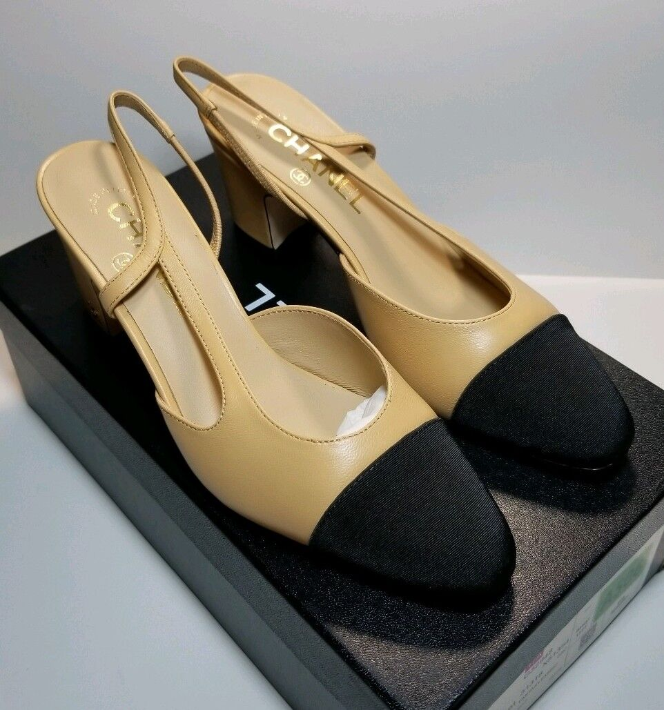 NIB CHANEL TwoTone Beige Black Lambskin Leather Slingback authentic size 37 65