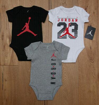 Air Jordan Baby Boy 3 Piece Bodysuit Set ~ Black, White, Gray & Red ~ Jumpman ~ 100% Cotton Bodysuit Set