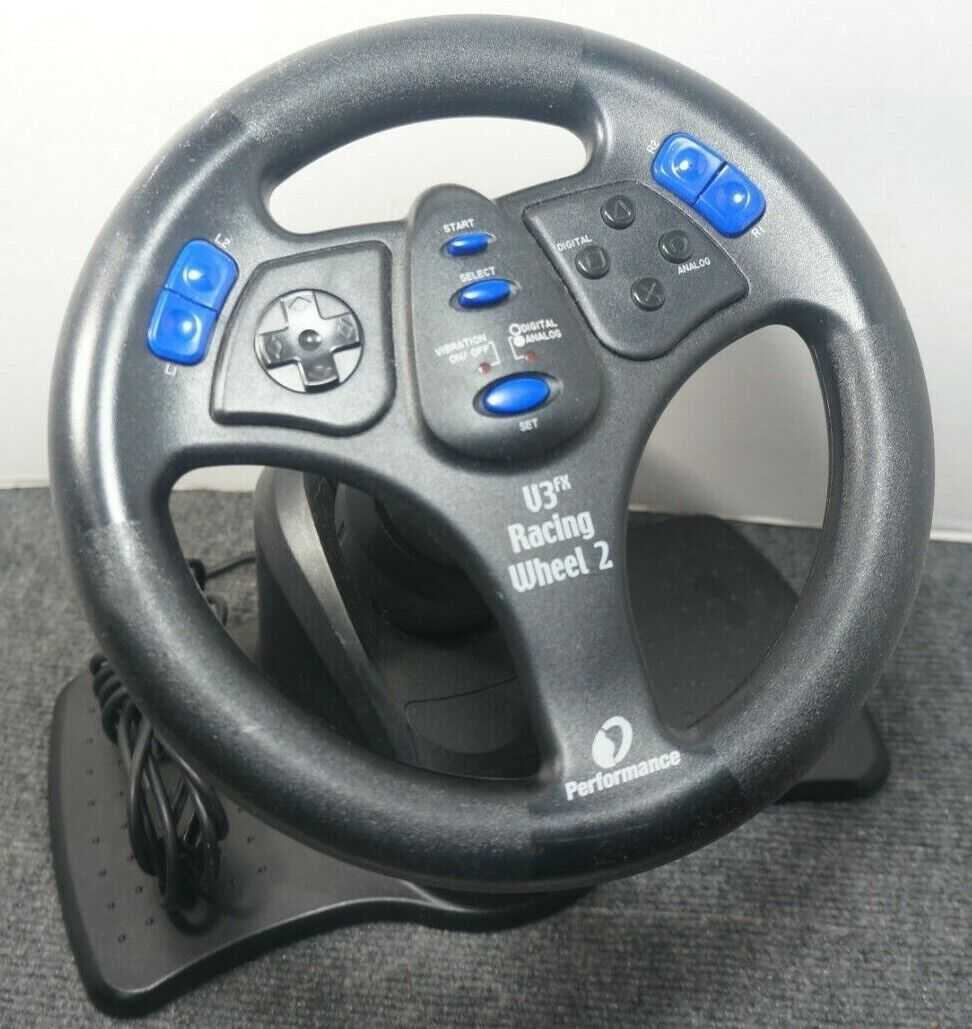 Performance V3FX Blue Racing Wheel PlayStation 2 Only W/O Pedal Tested Working - $9.99