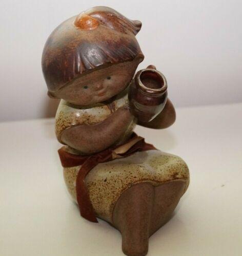 Japan Vintage Stoneware Girl Figurine Holding A Pot Speckled