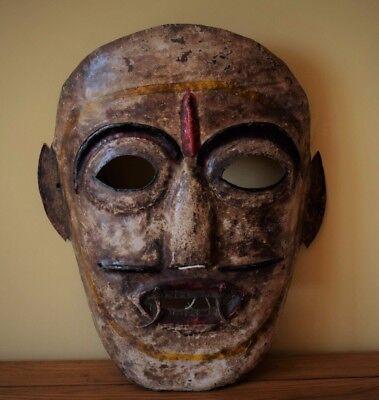 Antique Tribal Mask - Nepal - Himalaya - Metal - Folk Art
