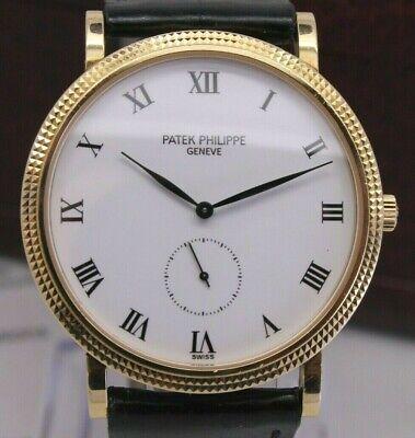 1990's Patek Philippe Mens 18k Yellow Gold 3919J Manual Dress Watch w Box & Band