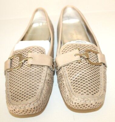 Anne Klein Womens Loafer Shoes Sz 7 M Brown Leather Sport Flat Driving MocToe