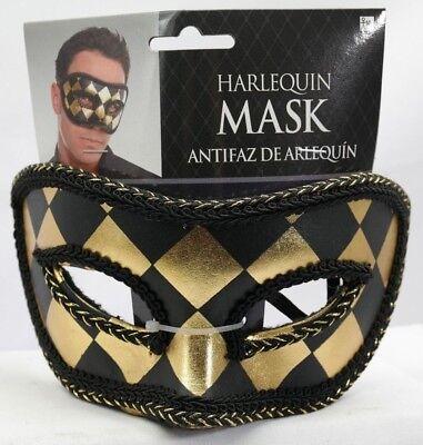 Amscan Harlequin Black/Gold Mask Halloween T2 (Harlequin Halloween Mask)
