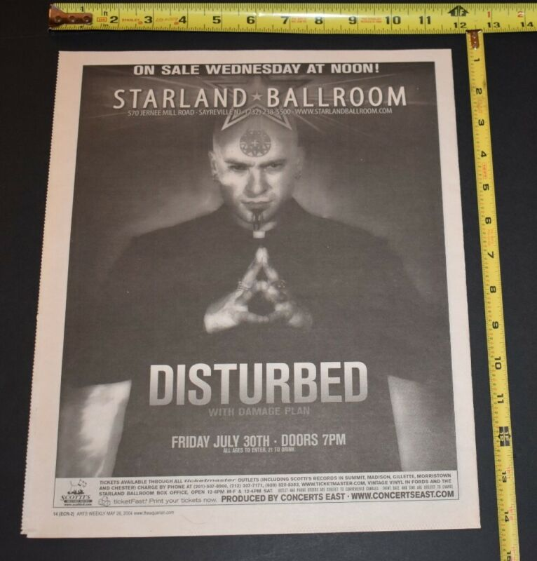 DISTURBED 2004 Concert Ad w/ Damage Plan Starland Ballroom NJ