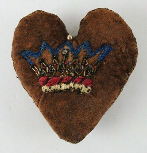 Vintage Velvet Stumpwork Beaded Crown Heart Pincushion