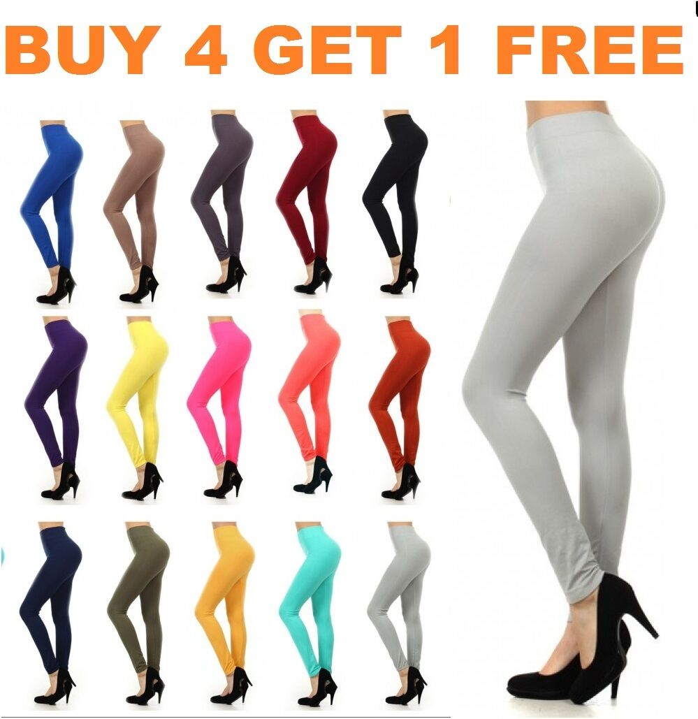 Leggings - Womens Leggings Solid Seamless Skinny Pants Black Stretch Footless One Size New