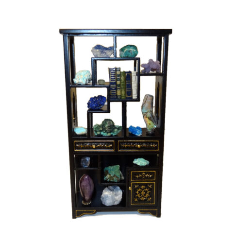 Dollhouse Filled Museum Display Asian Cabinet Minerals Crystals Miniature Books