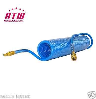 DRUCKLUFT SPIRALSCHLAUCH 10m PU 8x12mm mit Fix-Kupplung Druckluftschlauch